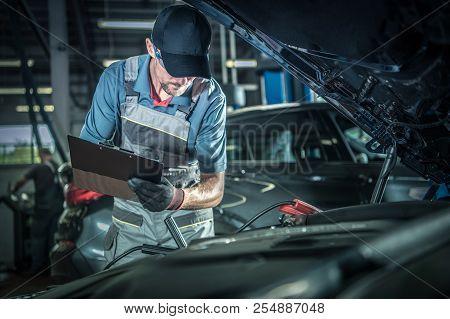 Car Mechanic Detailed Vehicle Inspection. Auto Service Center Theme.