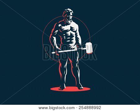 God Hephaestus Holds A Hammer In His Hands. Vector Emblem.