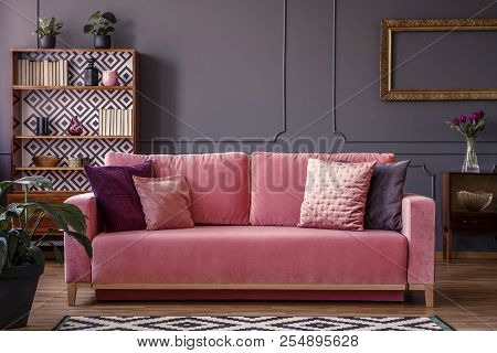 Satin Pillows On A Pink Velvet Sofa In A Luxurious Living Room Interior With Molding On Dark Gray Wa