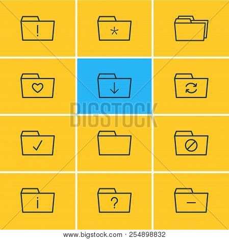 Vector Illustration Of 12 Document Icons Line Style. Editable Set Of Important, Significant, Downloa