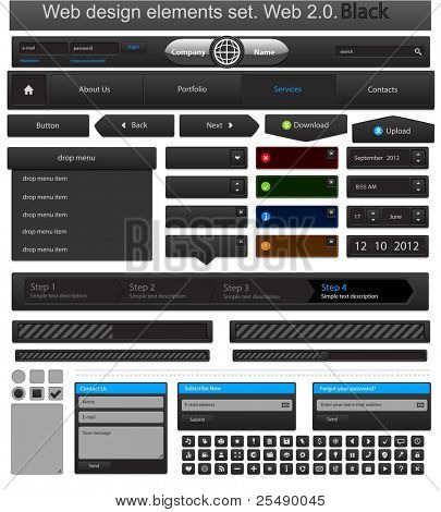 Web design elements set black. Vector illustration