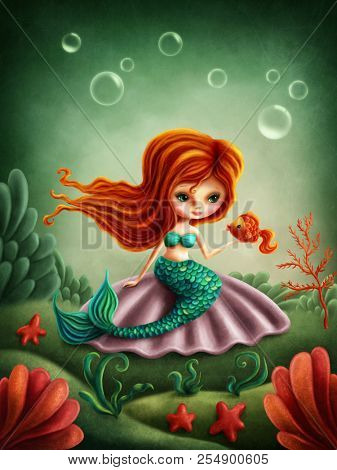 Beautiful little mermaid girl with a fish