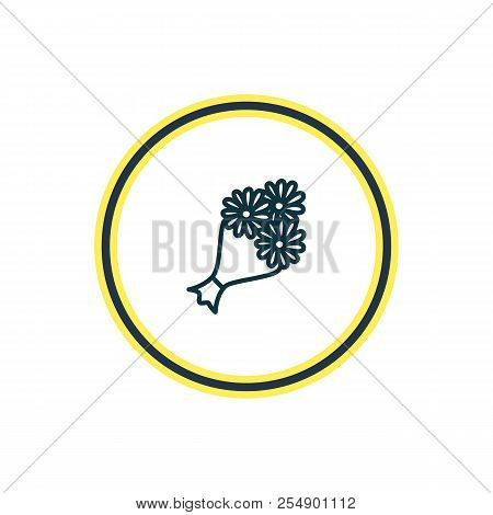 Vector Illustration Of Posy Icon Line. Beautiful Wedding Element Also Can Be Used As Bridal Bouquet