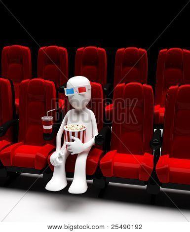 Man in movie in stereo glasses. 3d illustration