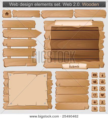 Wooden web elements set. Vector illustration