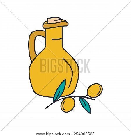 Olive Oil Icon. Cartoon Olive Oil Vector Icon For Web Design Isolated On White Background
