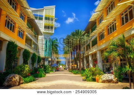 Grand Cayman, Cayman Islands, April 2018, The Paseo in Camana Bay a modern waterfront town by the Caribbean sea.