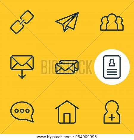 Illustration Of 9 Connect Icons Line Style. Editable Set Of Team, Conversation, Register Account And