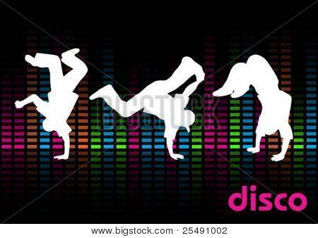 Break Dancers on a Black Background