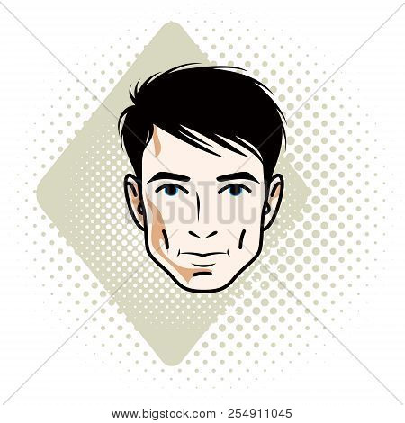 Vector illustration of handsome brunet male face, positive face features, clipart. poster