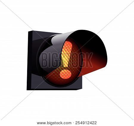 Exclamation Mark As Warning Sign On Red Traffic Light Concept