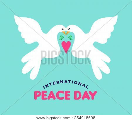 International Peace Day Illustration Of White Doves Couple Falling In Love. Hand Drawn Style Concept