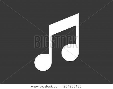 Musical Note Icon Vector, Filled Flat Sign, Solid Pictogram Isolated On White. Quaver Or Eighth Musi