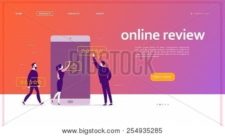 Vector Web Page Concept Design With Online Review Theme. Office People At Smartphone Screen Giving S