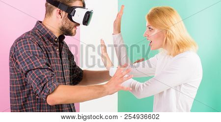 Wife Tries To Help Him Back Into Real Life. Man Vr Glasses Involved Video Game While Girl Try To Wak