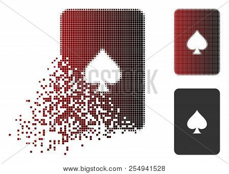 Peaks Playing Card Icon In Dispersed, Dotted Halftone And Undamaged Entire Versions. Pieces Are Orga