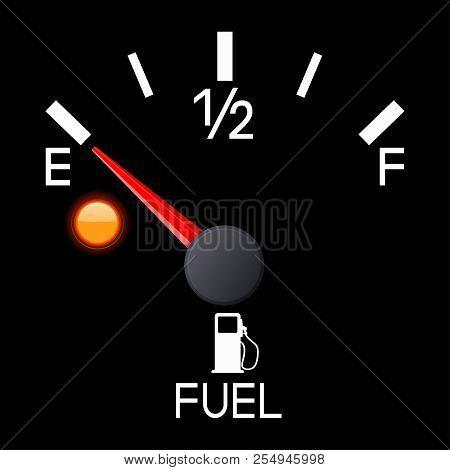 Fuel Gauge. Empty Tank. Car Dashboard Black Scale. Vector 3d Illustration