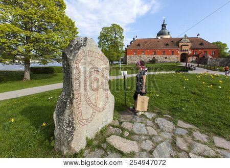 Gripsholm Castle, Sweden On May 11. Outdoor View Of The Runestone, Entrance On May 11, 2018 In Marie