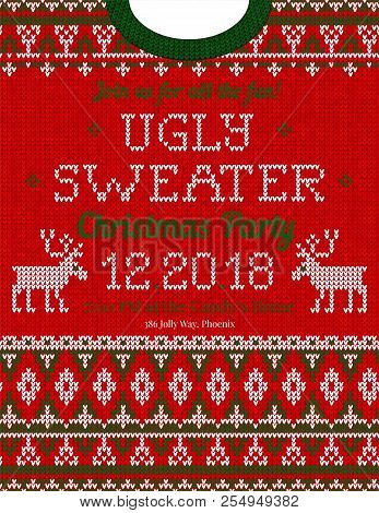 fec946fb83c17 Ugly Sweater Christmas Party Invite. Knitted Background Pattern  Scandinavian Ornaments.