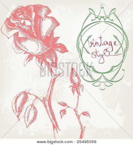 Vintage roses floral card with frame for text