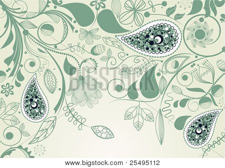 Vector floral frame with paisley
