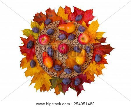 Fruits And Autumn Maple Leaves Isolated On White Background. Top View.