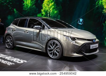 Geneva, Switzerland - March 6, 2018: New Toyota Auris Hybrid Car Showcased At The 88th Geneva Intern