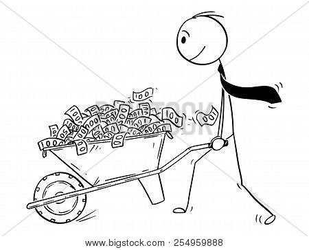 Cartoon Stick Drawing Conceptual Illustration Of Man Or Businessman Or Politician Pushing Wheelbarro