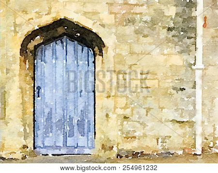 Digital Watercolor Painting Of A Blue Door With A Decorative Stone Surround. Decorative Image With S