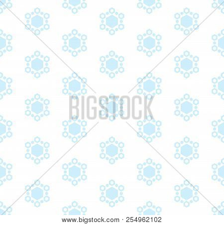 Subtle Winter Background With Blue Snowflakes. Vector Abstract Minimalist Geometric Seamless Pattern