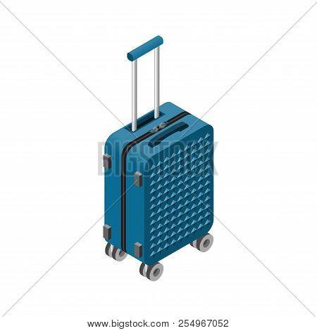 Vector Isometric Luggage Bag. 3d Suitcase. Traveller Luggage , Tourist Summer Bag Illustration. Trav