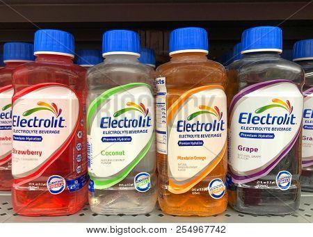San Leandro, Ca - February 01, 2018: Grocery Store Shelf With Bottles Of Electrolit Brand Pediatric