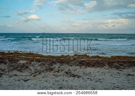 Breezy Sunset With Ocean Waves At Fort Lauderdale Beach In Florida