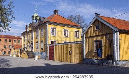 Mariefred, Sweden On May 12. Outdoor View Of A Street, Wooden Yellow Buildings On May 12, 2018 In Ma