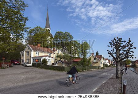 Mariefred, Sweden On May 12. Outdoor View Of A Street, Wooden Buildings, Church On May 12, 2018 In M