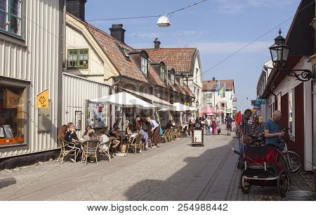 Mariefred, Sweden On May 11. View From The Main Street Commerce, Trade On May 11, 2018 In Mariefred,