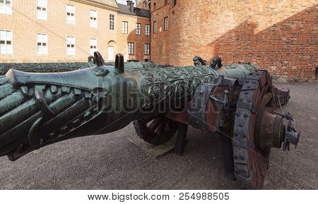 Gripsholm Castle, Sweden On May 11. Closeup View Of The Old Cannon Of Russian Descent On May 11, 201