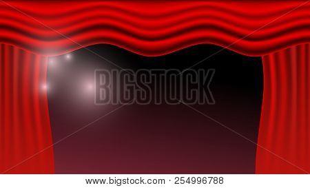 Vector Illustration. Red Curtains. Scenes On Dark Background