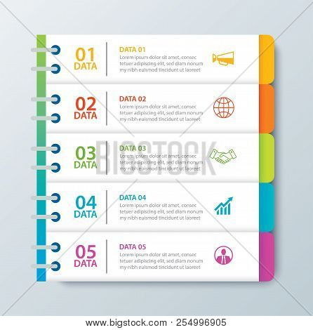 Infographics Tab In Horizontal Paper Index With 5 Data Template. Vector Illustration Abstract Notebo