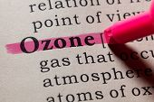 Fake Dictionary, Dictionary definition of the word ozone. including key descriptive words. poster
