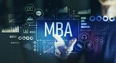 MBA with young man pointing on a dark background poster