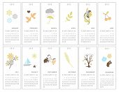 Set of twelve decorative monthly calendars for 2012 year poster