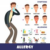 Cartoon stye vector allergy infographics with allergens and allergy symptoms. Symptom allergic red eyes and itchy, allergy seasonal illustration poster