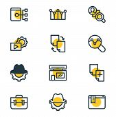 illustration of 12 advertisement icons line style. Editable set of sitemap, SEO blackhat, competitor analysis and other icon elements. poster