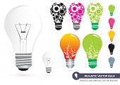 Realistic and Abstract Vector Bulb Set poster