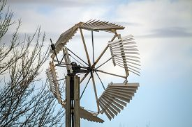 Old Traditional Windmill With Wooden Blades, Kansas