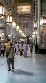 MECCA,SAUDI ARABIA-SEPTEMBER 24, 2016: Interiors of Al-Haram mosque in Mecca, the largest mosque in the world