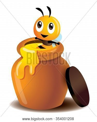 Cartoon Cute Bee Enjoy Soaking In A Honey Pot. Fresh Honey Leaking Out From Pot. Cute Bee Sitting In