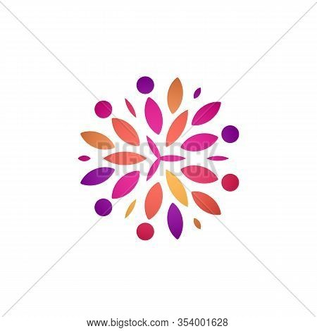 Colorful Abstract Flower Vector Round Logo Template For Floral And Decorate Business, Colored Leaves