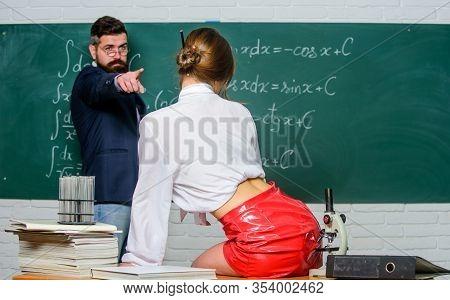 She Is A Seduction Guru. Bearded Man Point Finger At Sexy Woman. Sensual Teacher Use Sexy Seduction